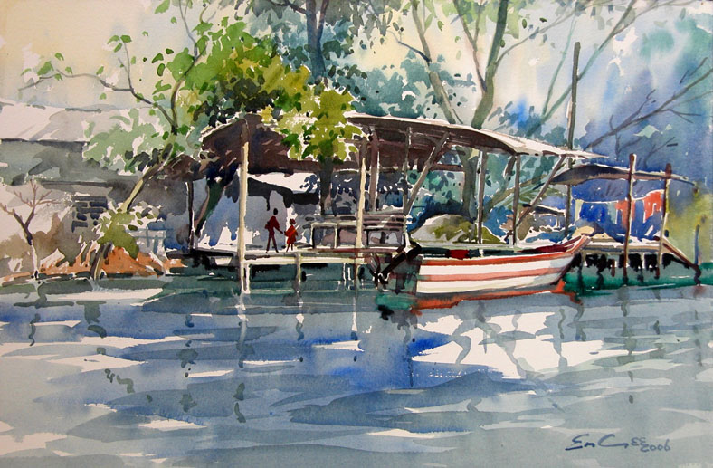 Tropical Riverside watercolour painting