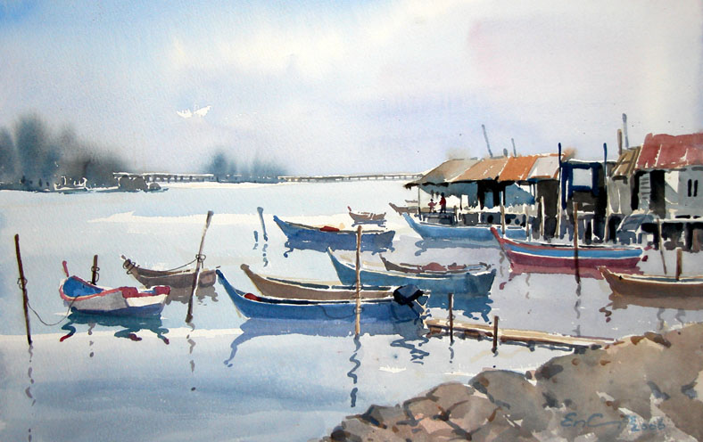 South East Asia Seaside watercolour painting