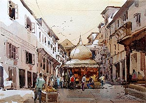 Bali Nepal Watercolour oil Painting Singapore Artist